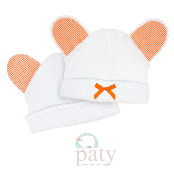 Paty Bear Hat w/ Orange Gingham