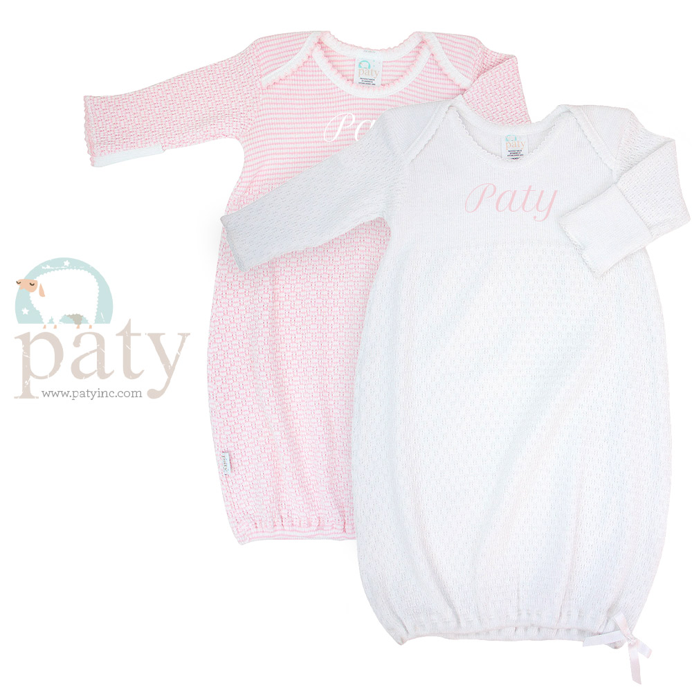 Monogrammed Paty LS Lap Shoulder Gowns