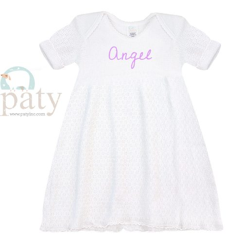 Monogrammed White Lap Shoulder Dress