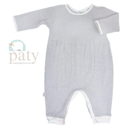 Paty Grey LS Romper with White Cotton Trim