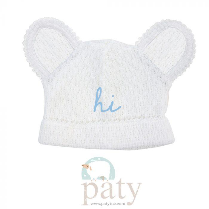 Monogrammed White Bear Hat