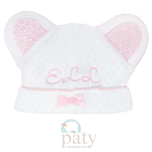 Monogrammed Paty White Bear Cap with Pink Trim