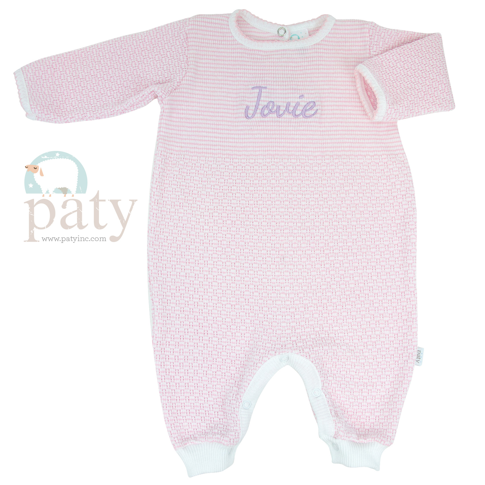 Paty Solid Pink Body with Pink Trim Romper Key-Hole Back