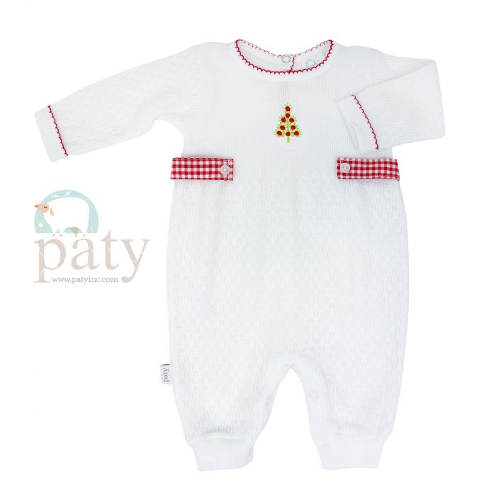 Paty Knit Romper with Chrismas Tree Embroidery