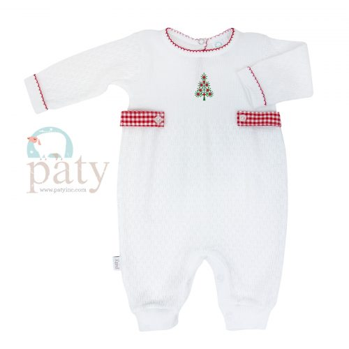 LS Romper with Christmas Tree Embroidery