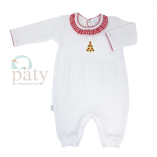 Knit Romper w/ Christmas Tree Embroidery
