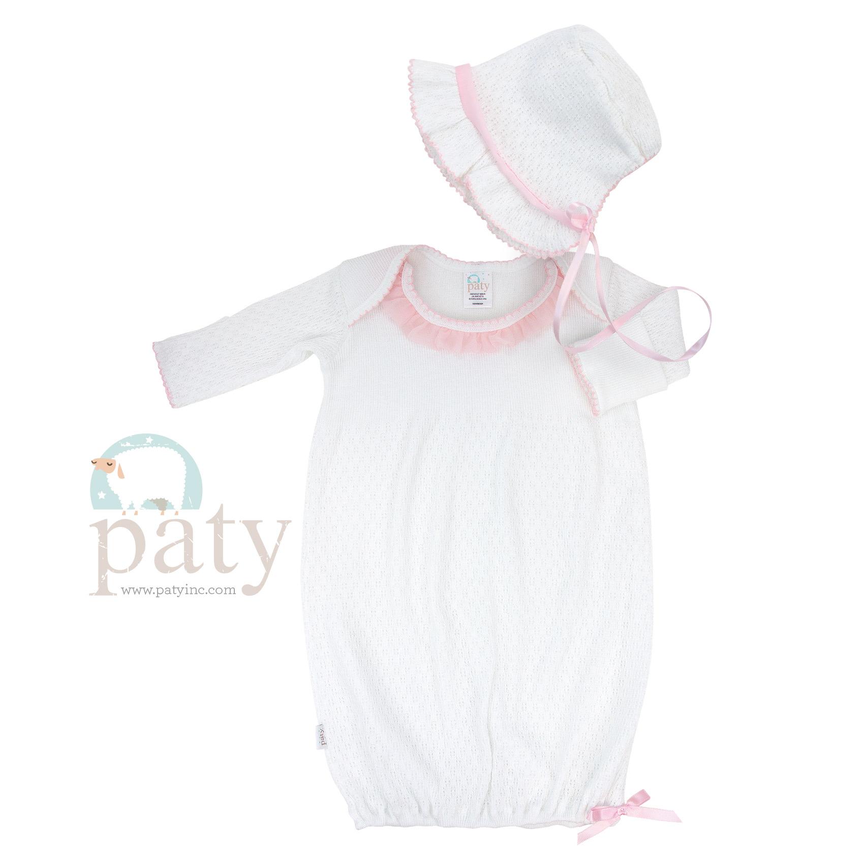 LS Lap Shoulder Chiffon Trim Gown with Bonnet