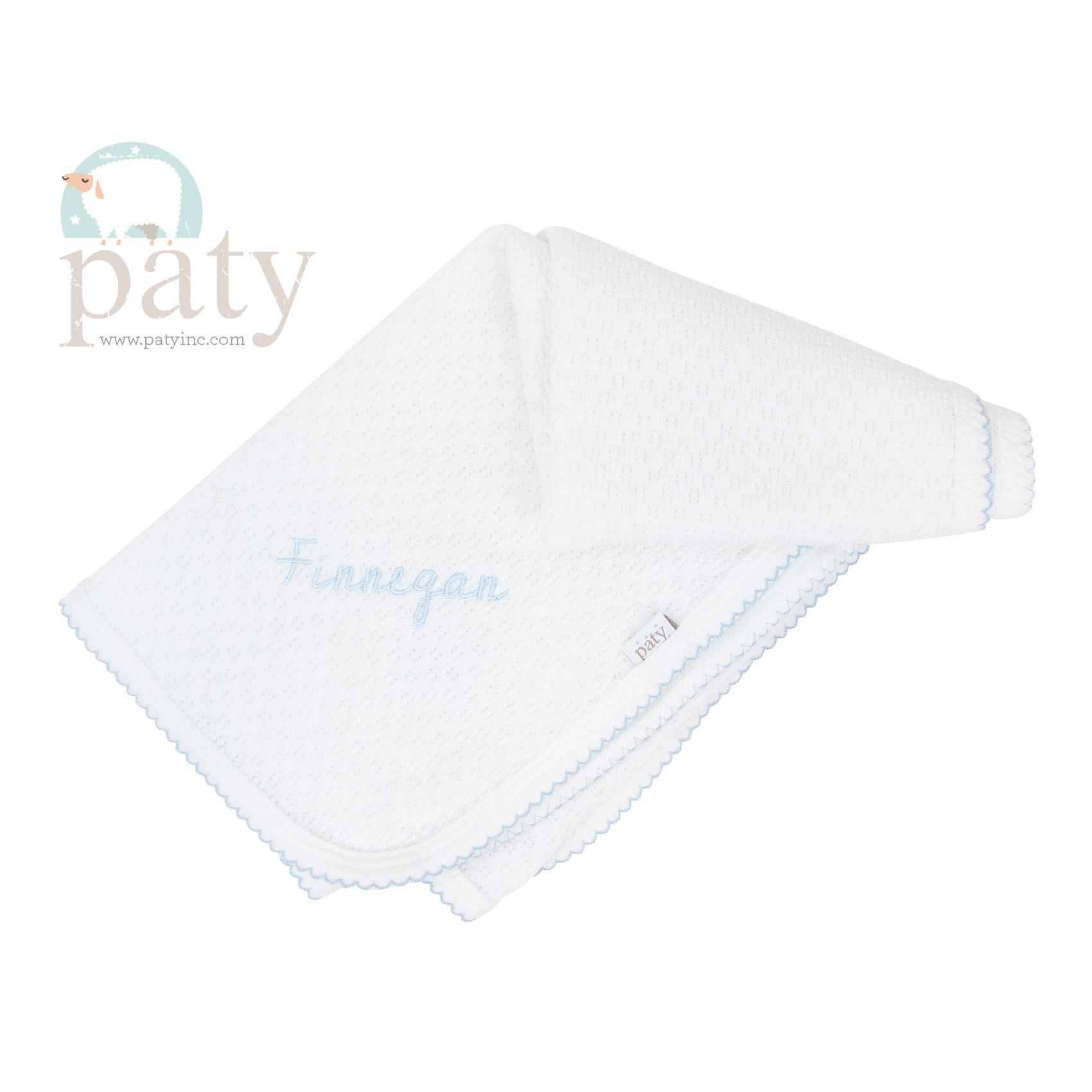 Monogrammed White Paty Blanket
