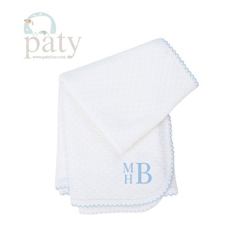 Paty Original Blue Trim Monogrammed Blanket