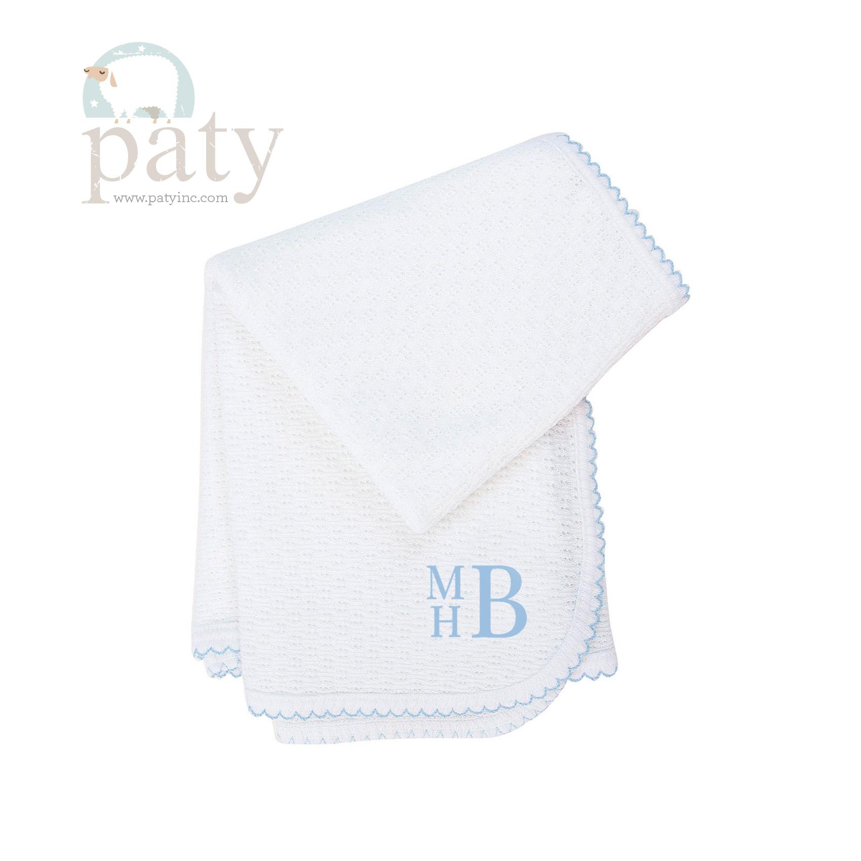 Paty Original Blue Trim Monogrammed Blanket