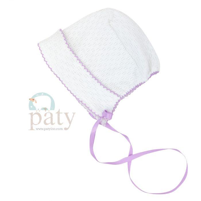 White Paty Bonnet with Ribbon Tie & Lavender Trim