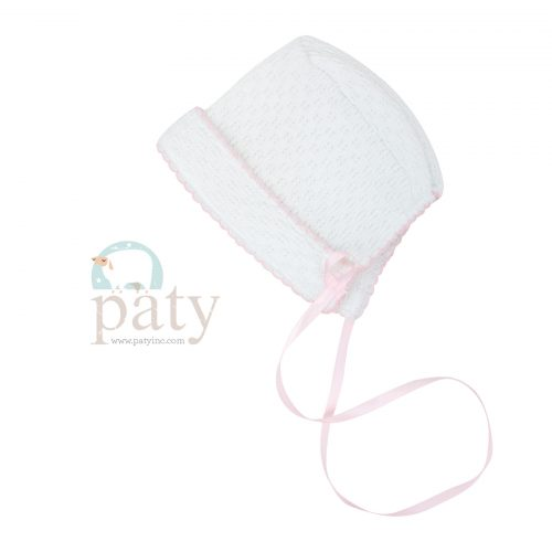 White Paty Bonnet with Ribbon Tie & Pink Trim