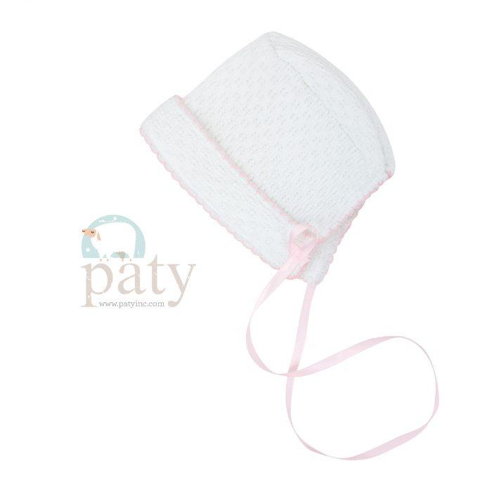 White Paty Bonnet with Ribbon Tie & Pink Trim