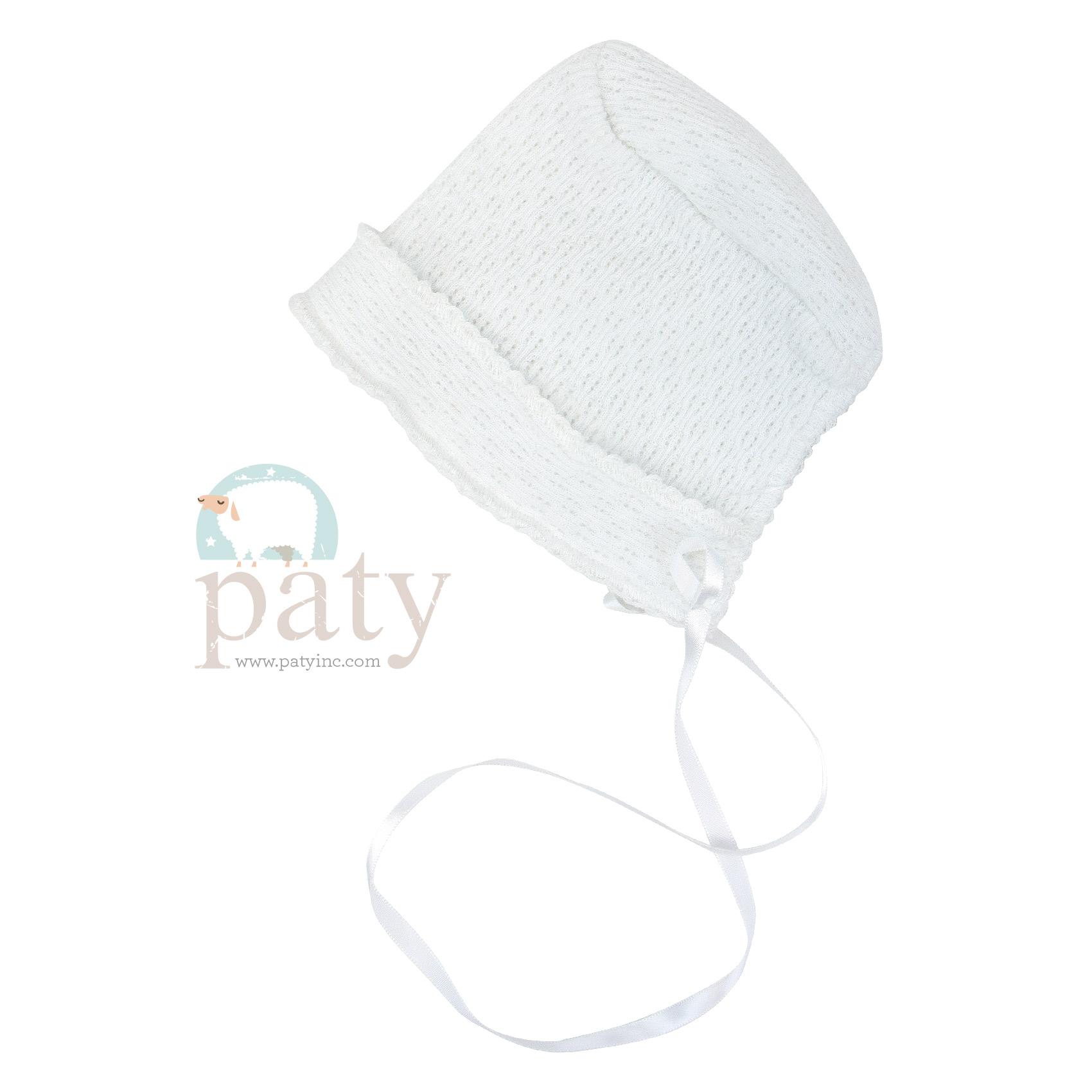 White Paty Bonnet with Ribbon Tie & White Trim
