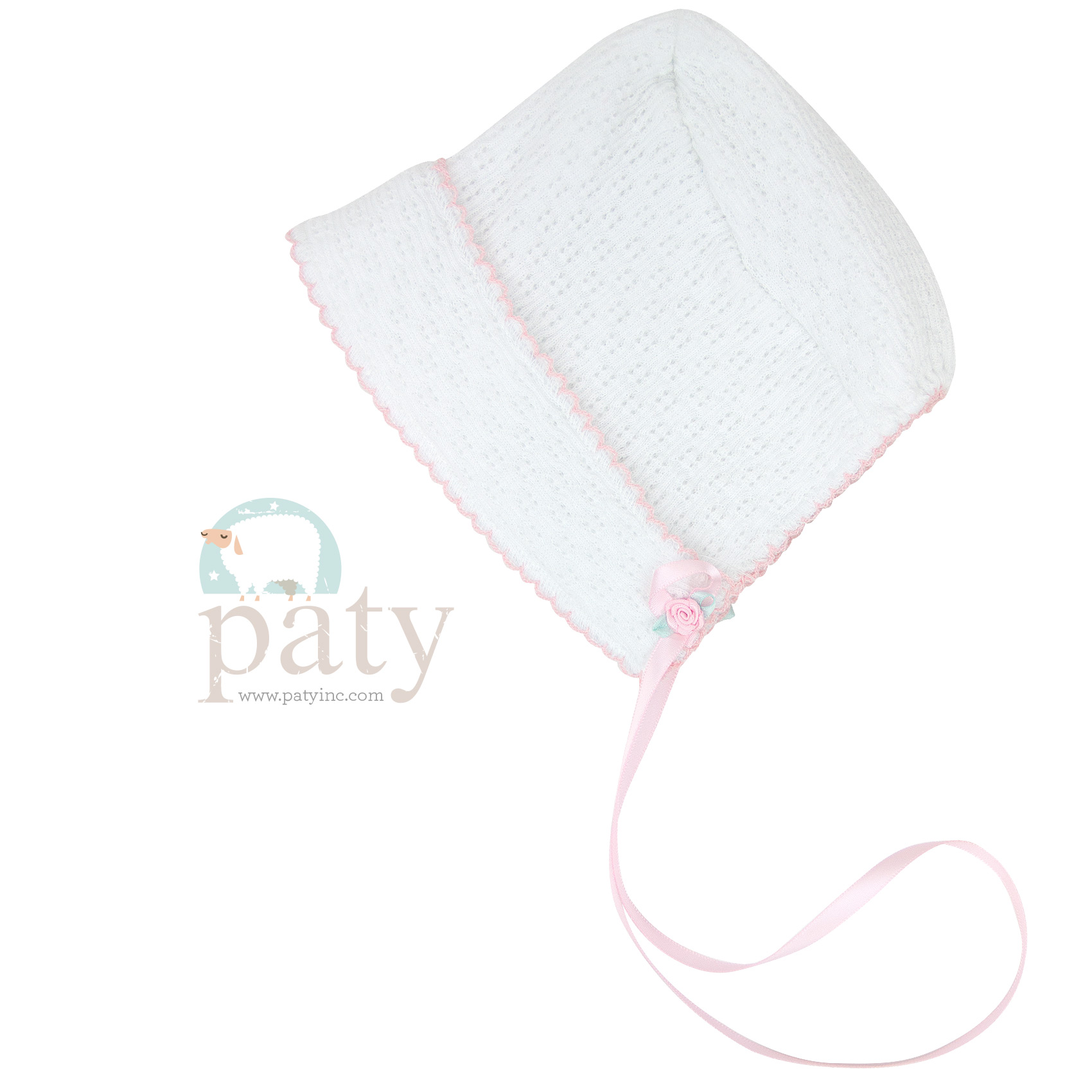 Paty Bonnet with Pink Rosette and Trim