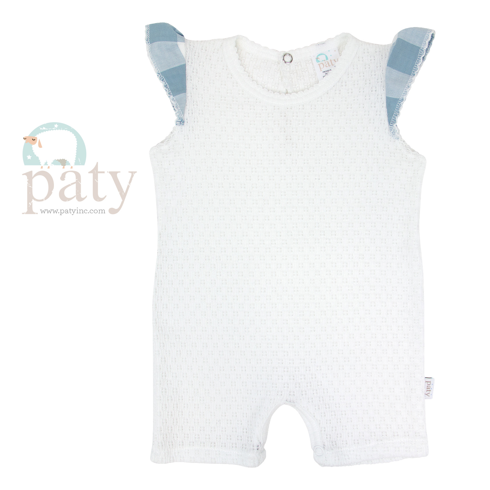 White Bubble w/ Blue Check Angel Sleeve