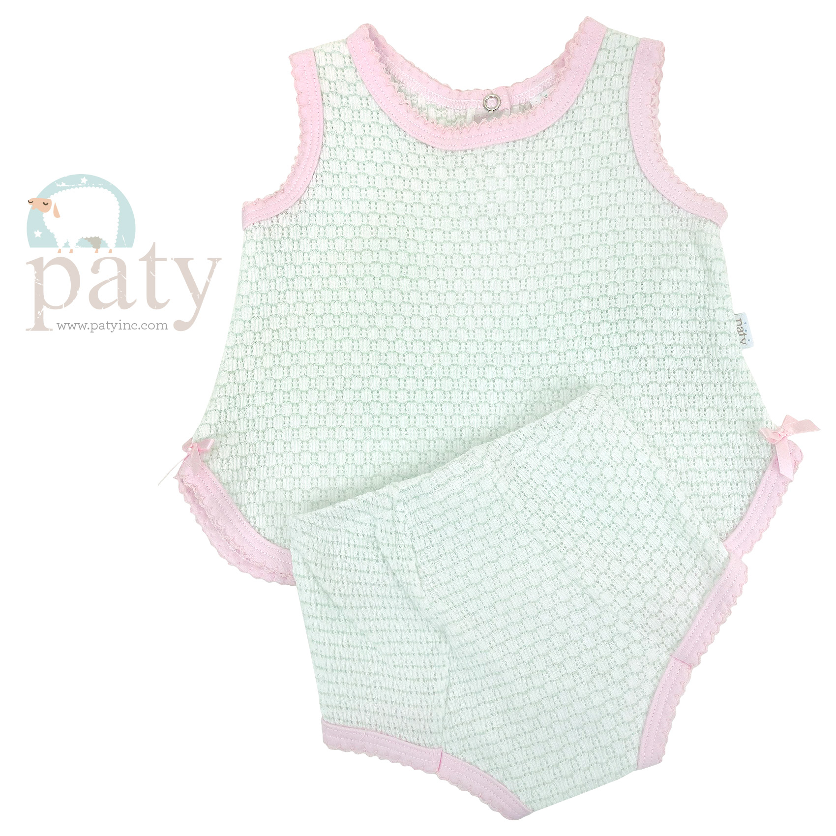 Paty Pinstripe 2 PC Set, Sleeveless Top with Trim Options and Diaper Cover