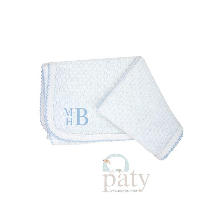 Paty Blue Pinstripe Monogrammed Blanket