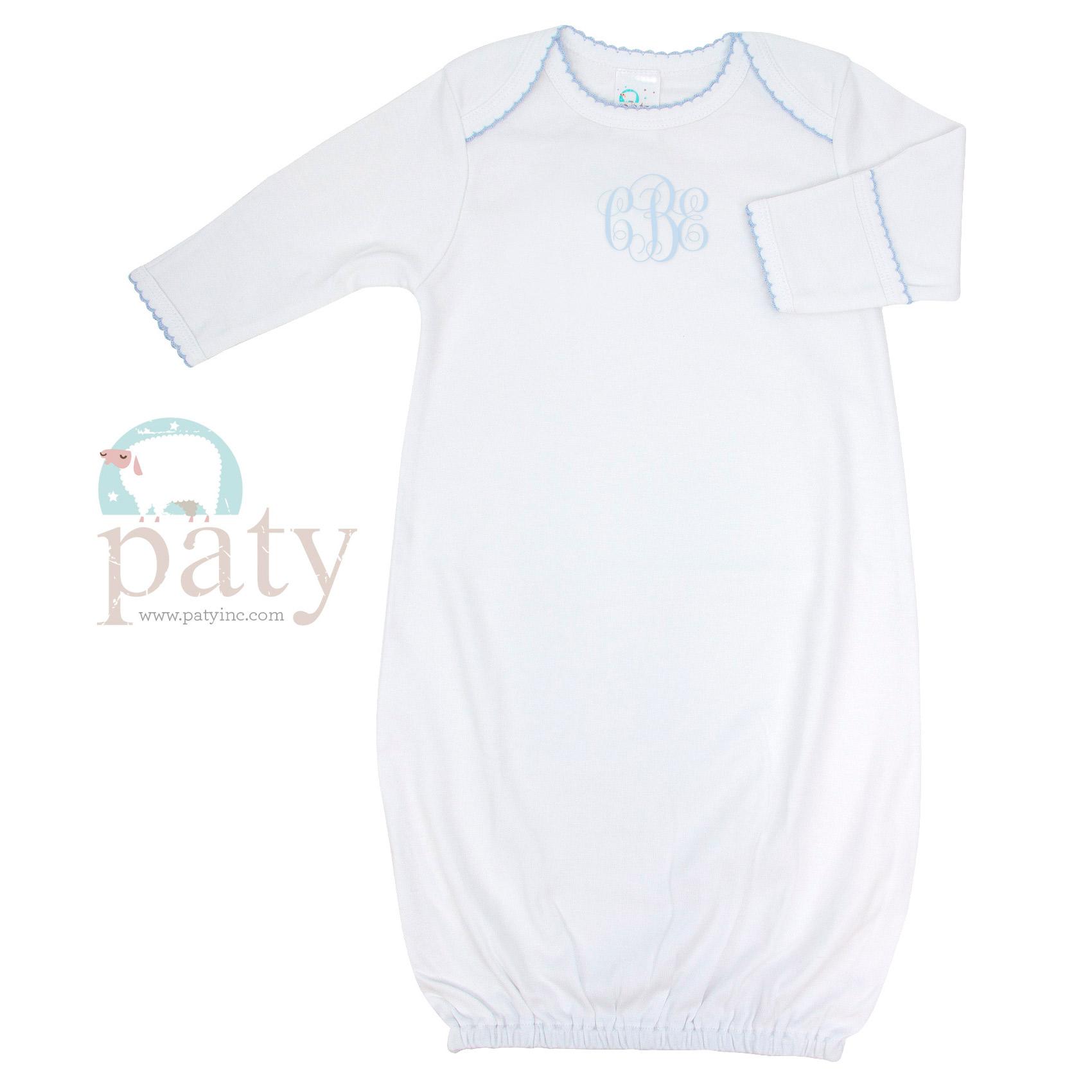 Monogrammed Paty Pima Overlap Shoulder Gown