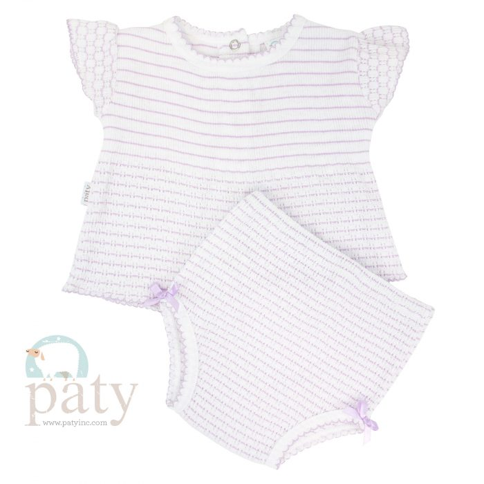 Pinstripe Lavender 2pc Set SS Top with Panty