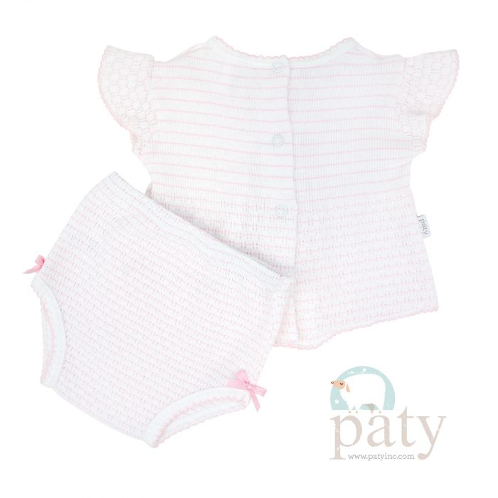 Back view Pinstripe Pink 2pc Set SS Top with Panty