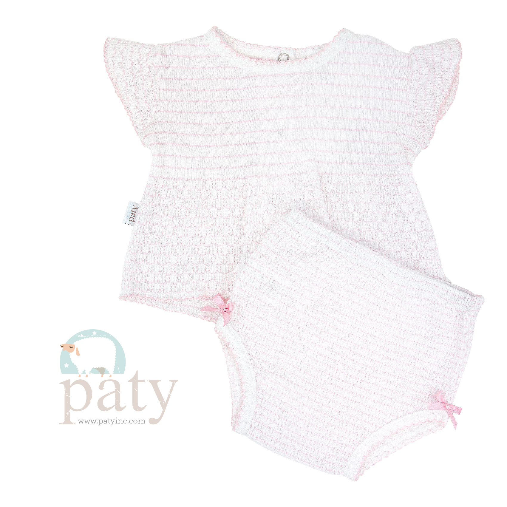 Pinstripe Pink 2pc Set SS Top with Panty