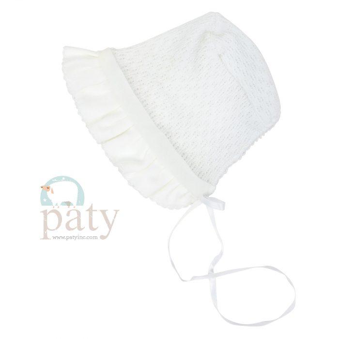 White Paty Knit Bonnet w/ White Cotton & Chiffon Trim