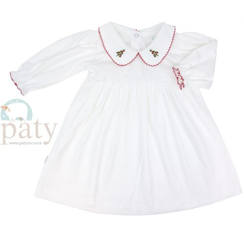Pima Dress with Christmas Tree Embroidery