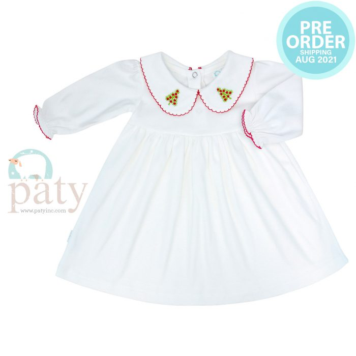 Preorder Pima Dress with Christmas Tree Embroidery