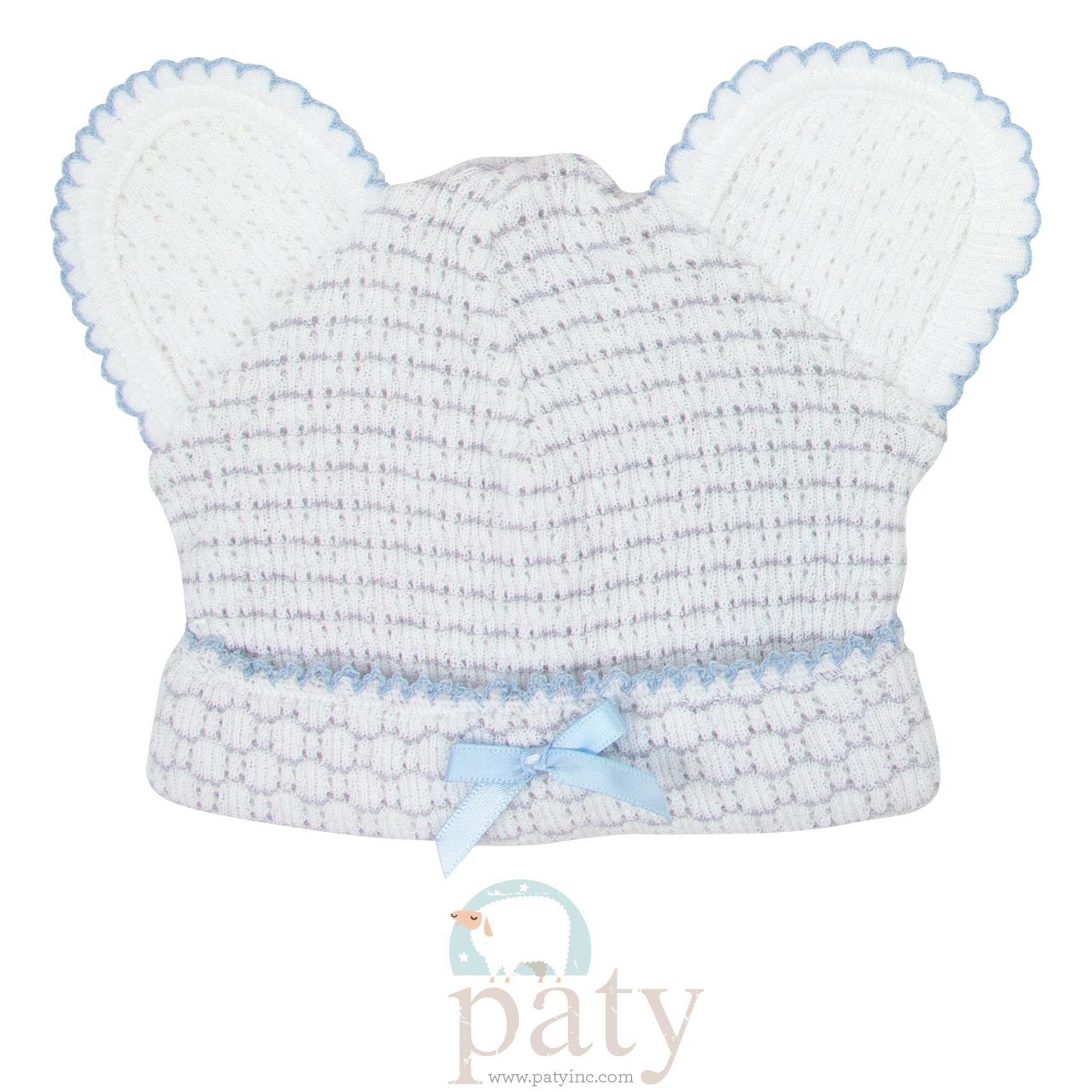 Classic Paty Knit Grey w/ Blue Trim Pinstripe Bear Caps