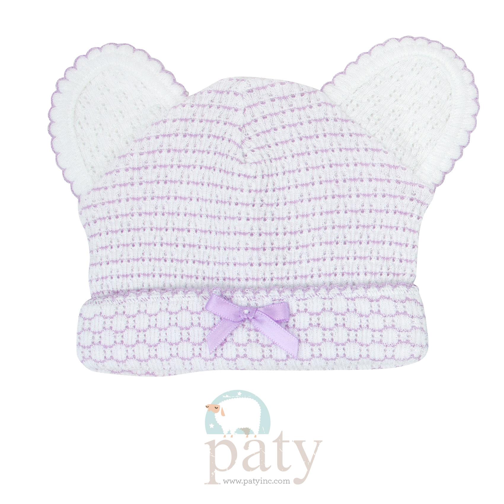 Classic Paty Knit Lavender Pinstripe Bear Caps
