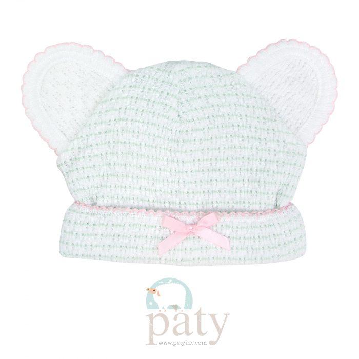 Classic Paty Knit Mint w/ Pink Trim Pinstripe Bear Caps