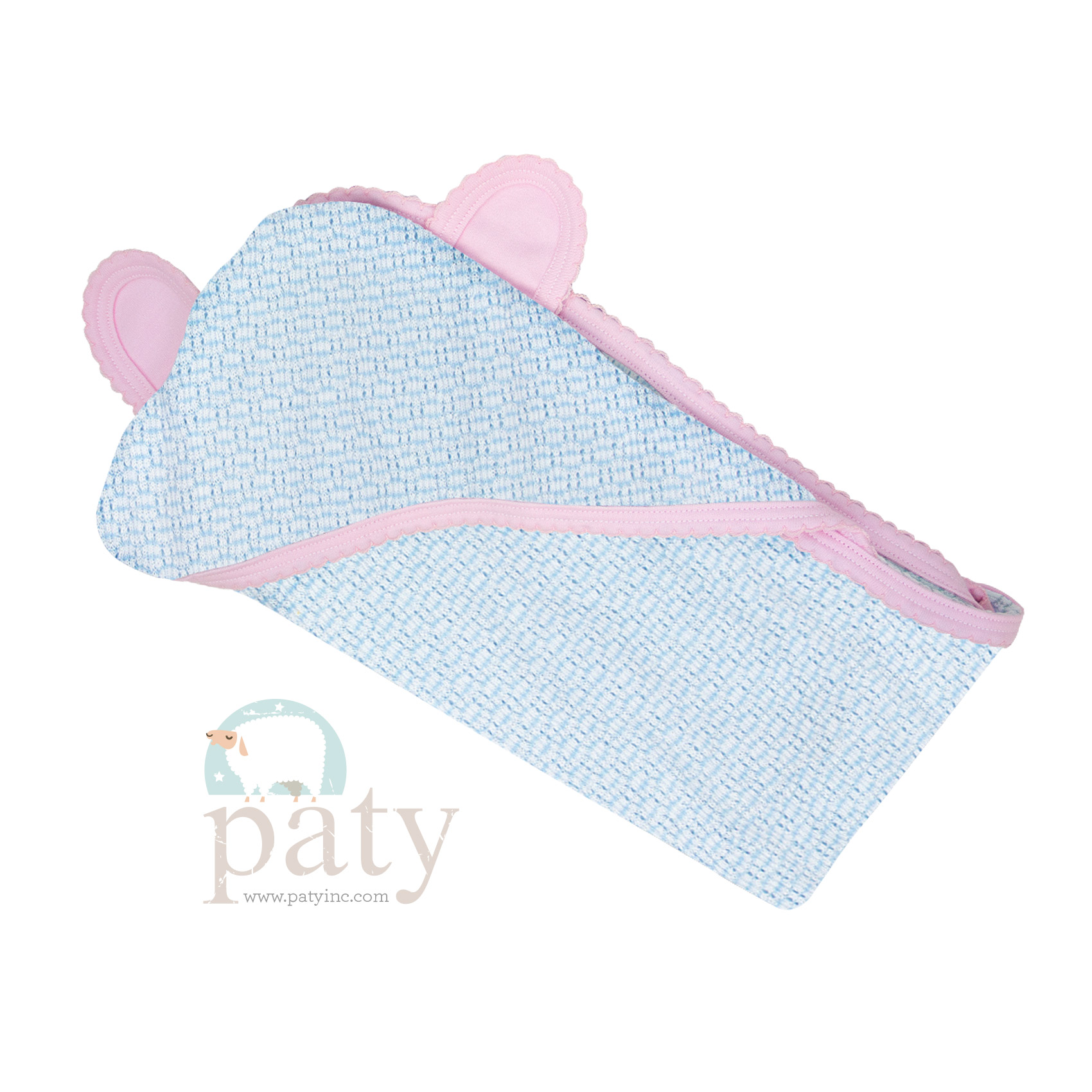 Paty Solid Color Blue with Pink Trim Bear Blanket