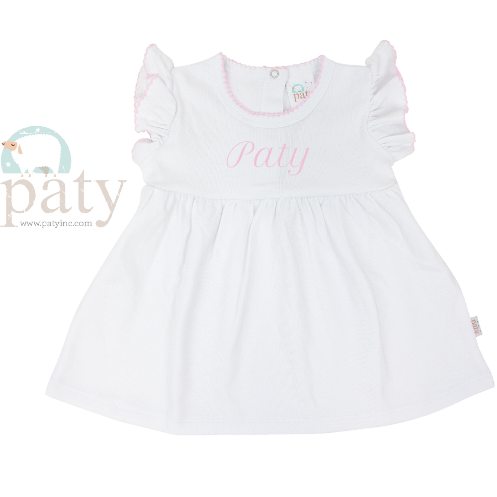 Monogrammed Paty Pima White Dress