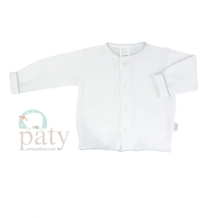 Paty Knit LS Button Up White Cardigan Sweater with Blue Trim