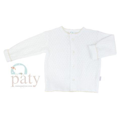 Paty Knit LS Button Up White Cardigan Sweater with Ecru Trim