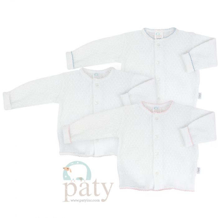 Paty Knit LS Button Up White Cardigan Sweater with Trim Options