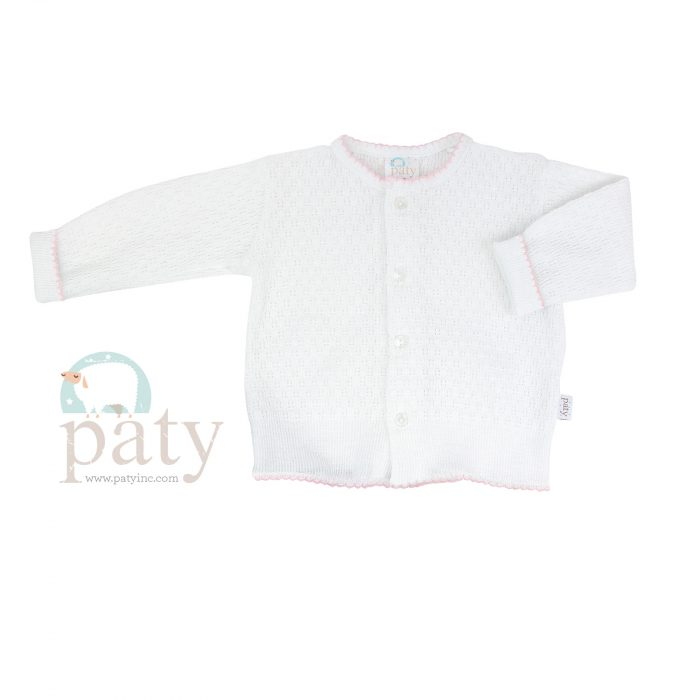 Paty Knit LS Button Up White Cardigan Sweater with Pink Trim