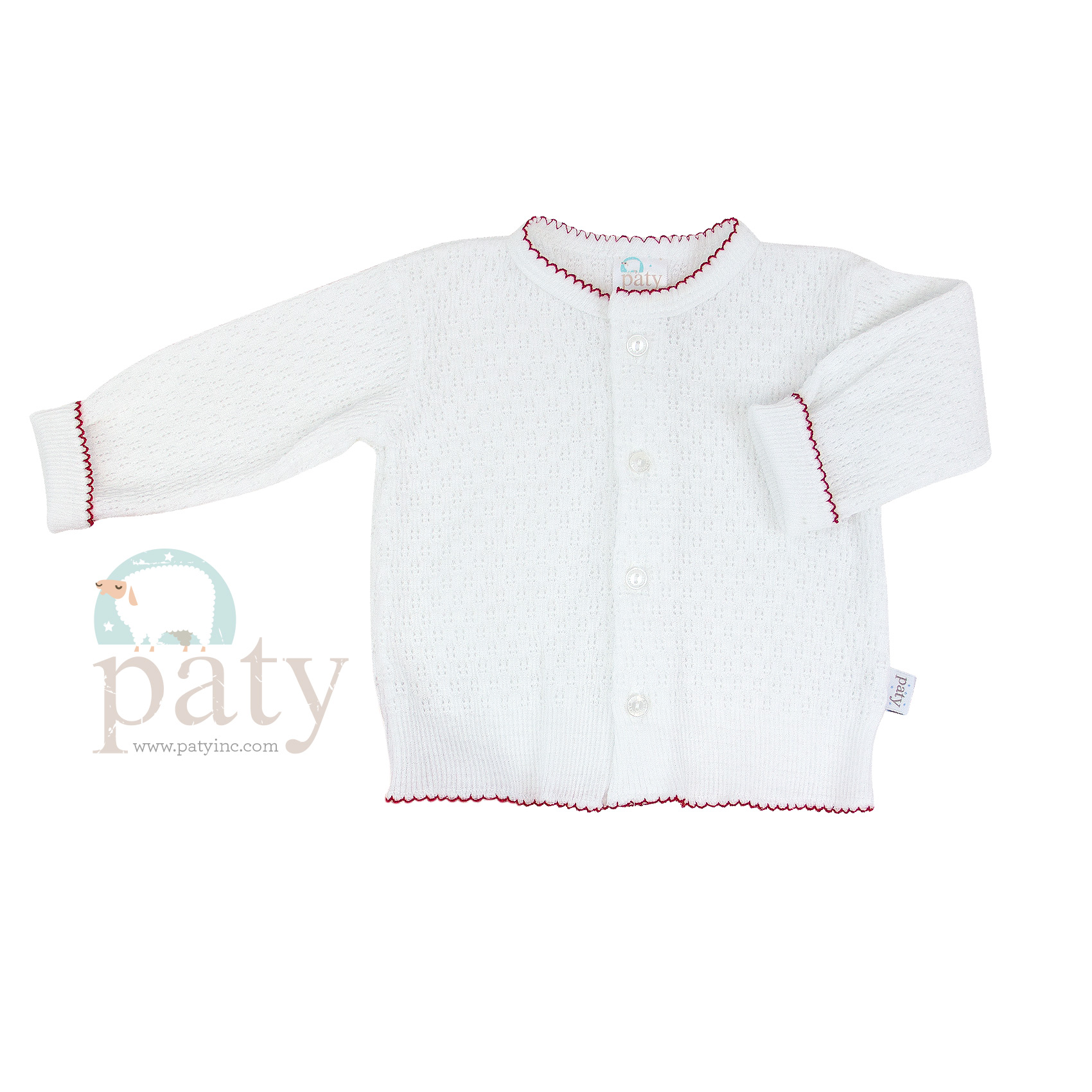 Paty Knit LS Button Up White Cardigan Sweater with Red Trim