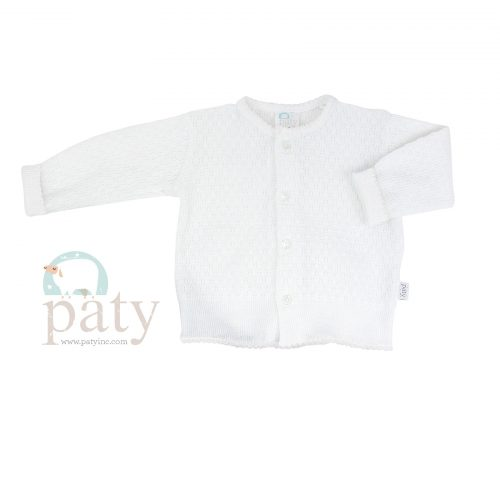 Paty Knit LS Button Up White Cardigan Sweater with White Trim