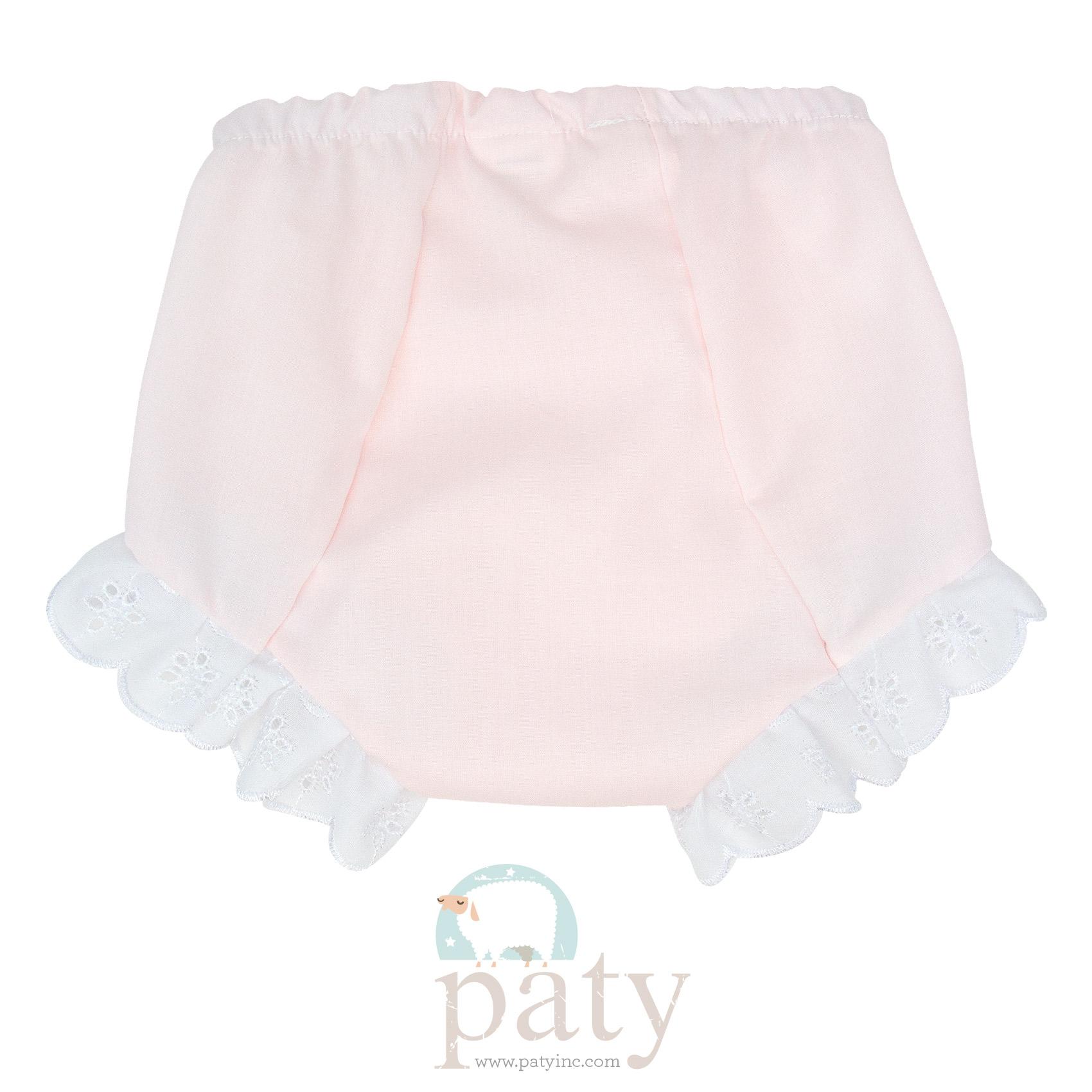 Eyelet Diaper Cover - Pink Imperial Batiste Back