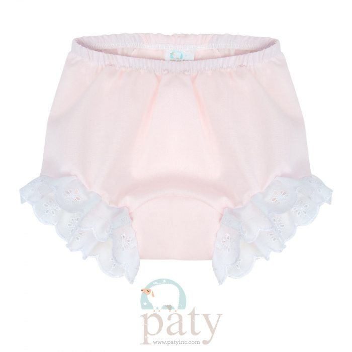 Eyelet Diaper Cover - Pink Imperial Batiste Front