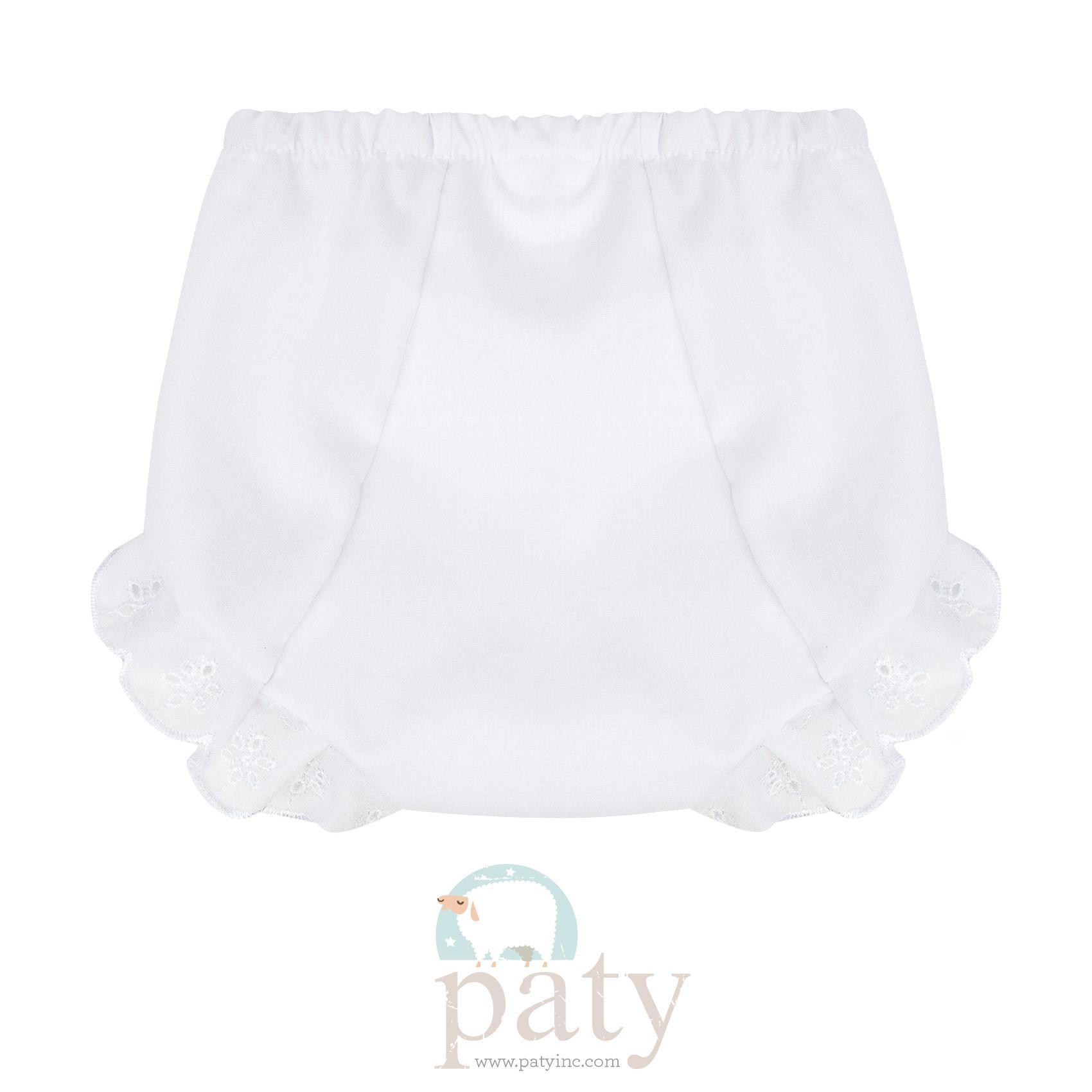 Eyelet Diaper Cover - White Back Side
