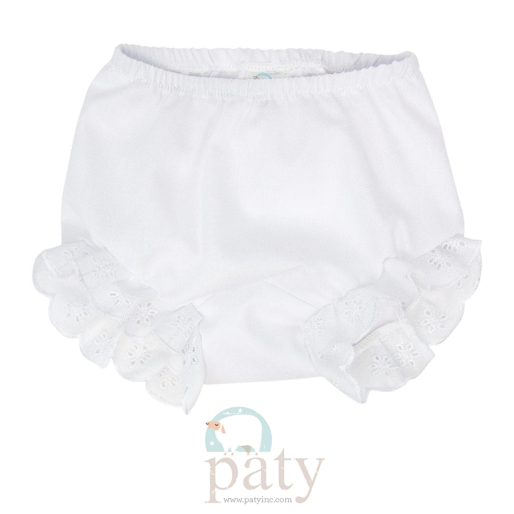 Eyelet Diaper Cover - White