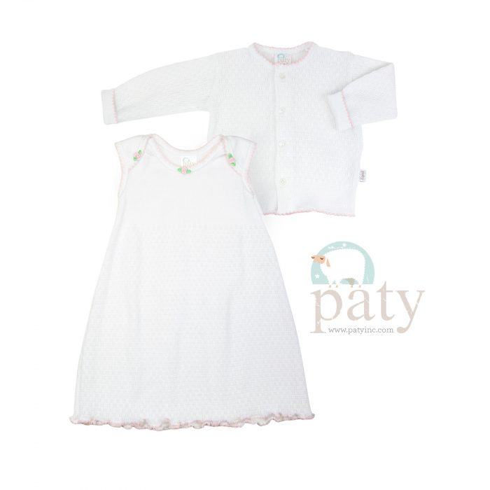 Classic Paty Dress w/ Rosettes and Cardigan Sweater