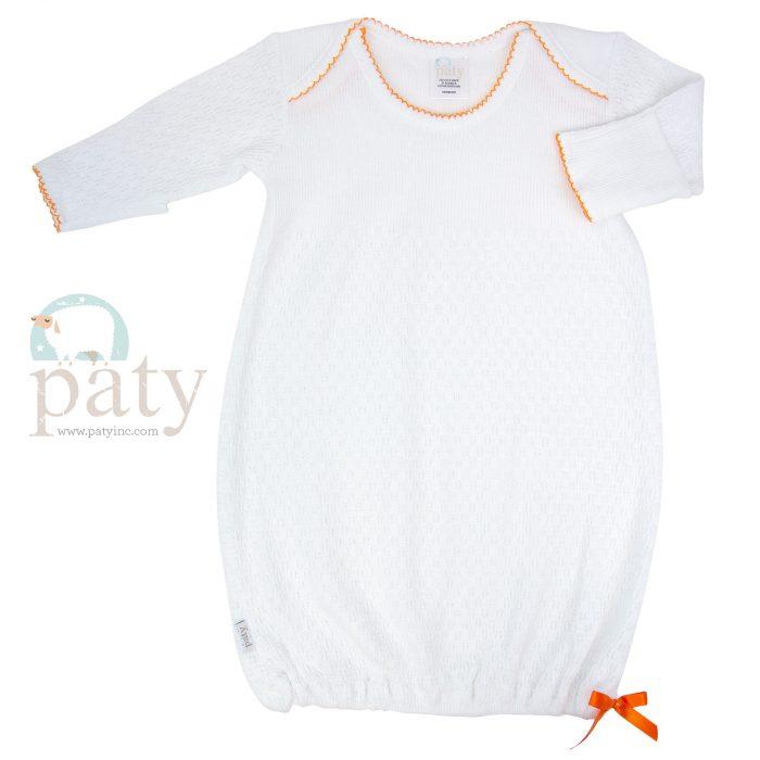 White Knit Gown with Orange Trim