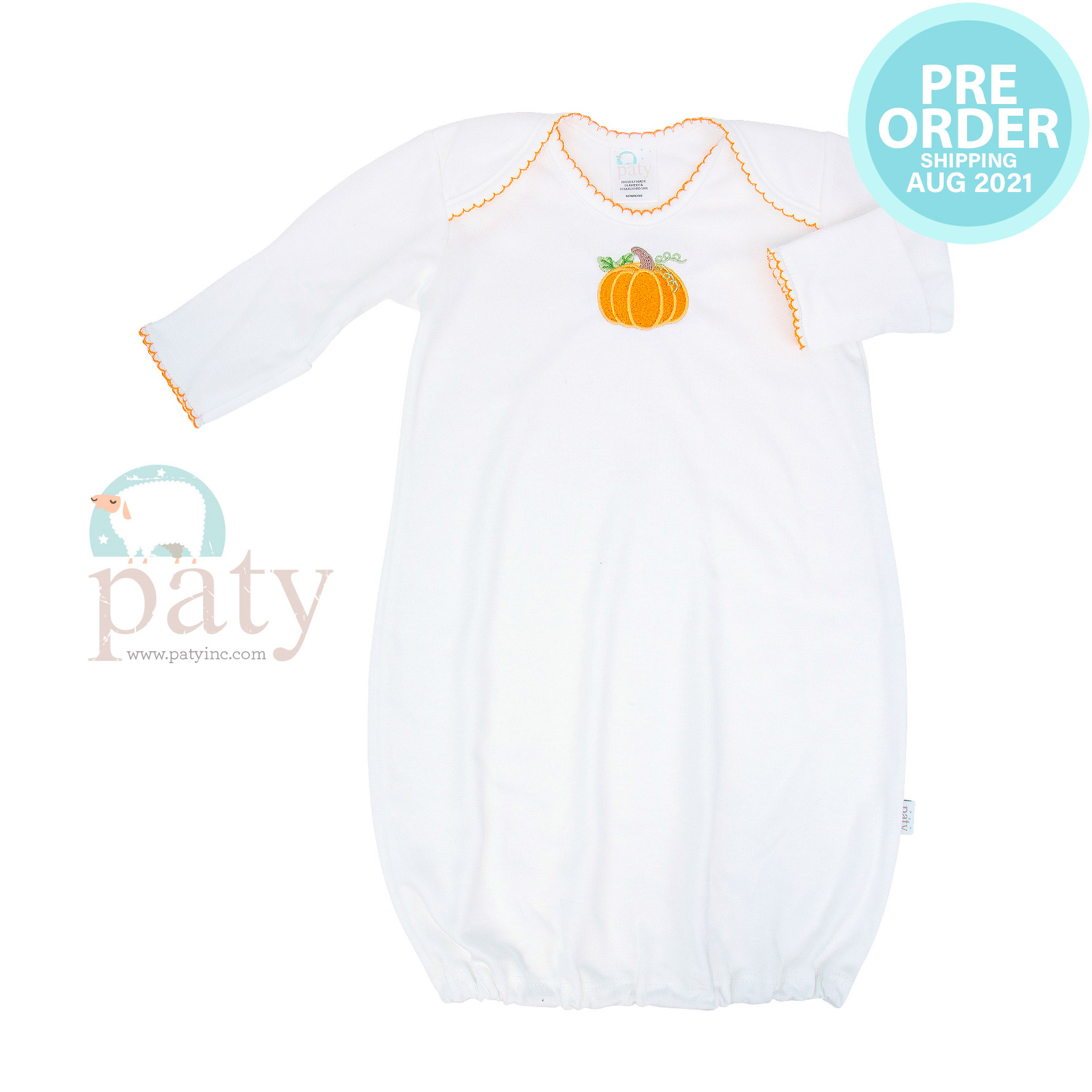 Preorder Pima Gown w/ Pumpkin Embroidery