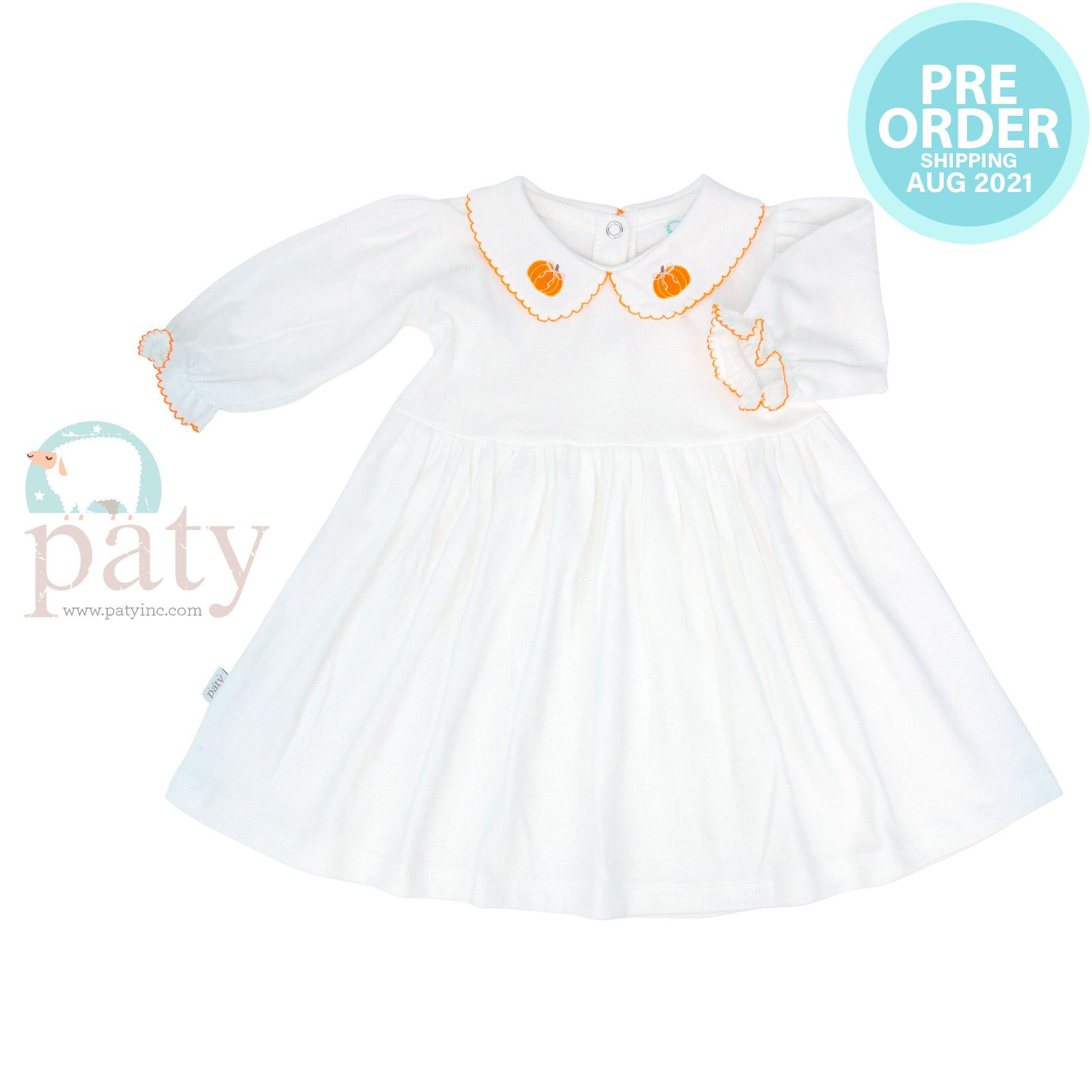 Preorder LS Pima Dress w/ Pumpkin Embroidery