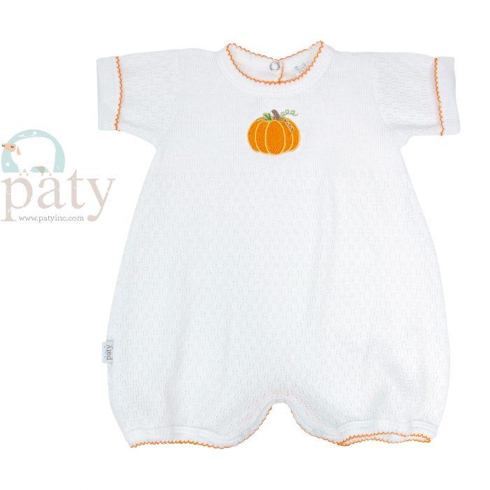 White Knit Bubble w/ Pumpkin Embroidery