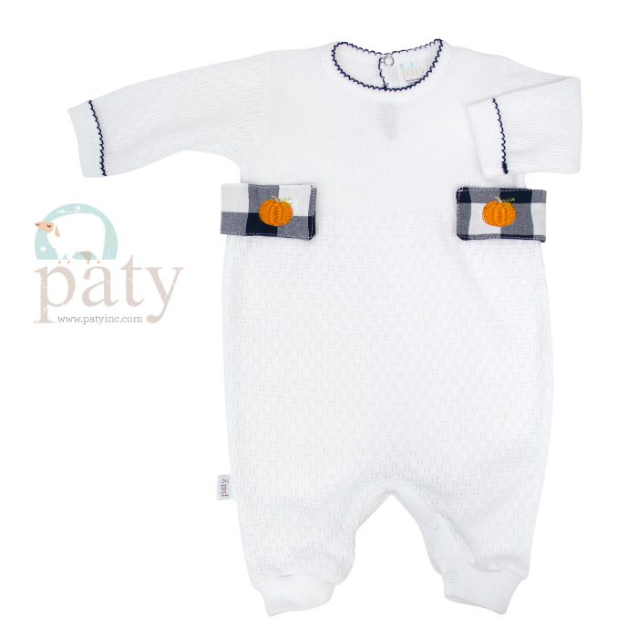 White Knit Romper with Check Side Tabs and Pumpkin Embroidery
